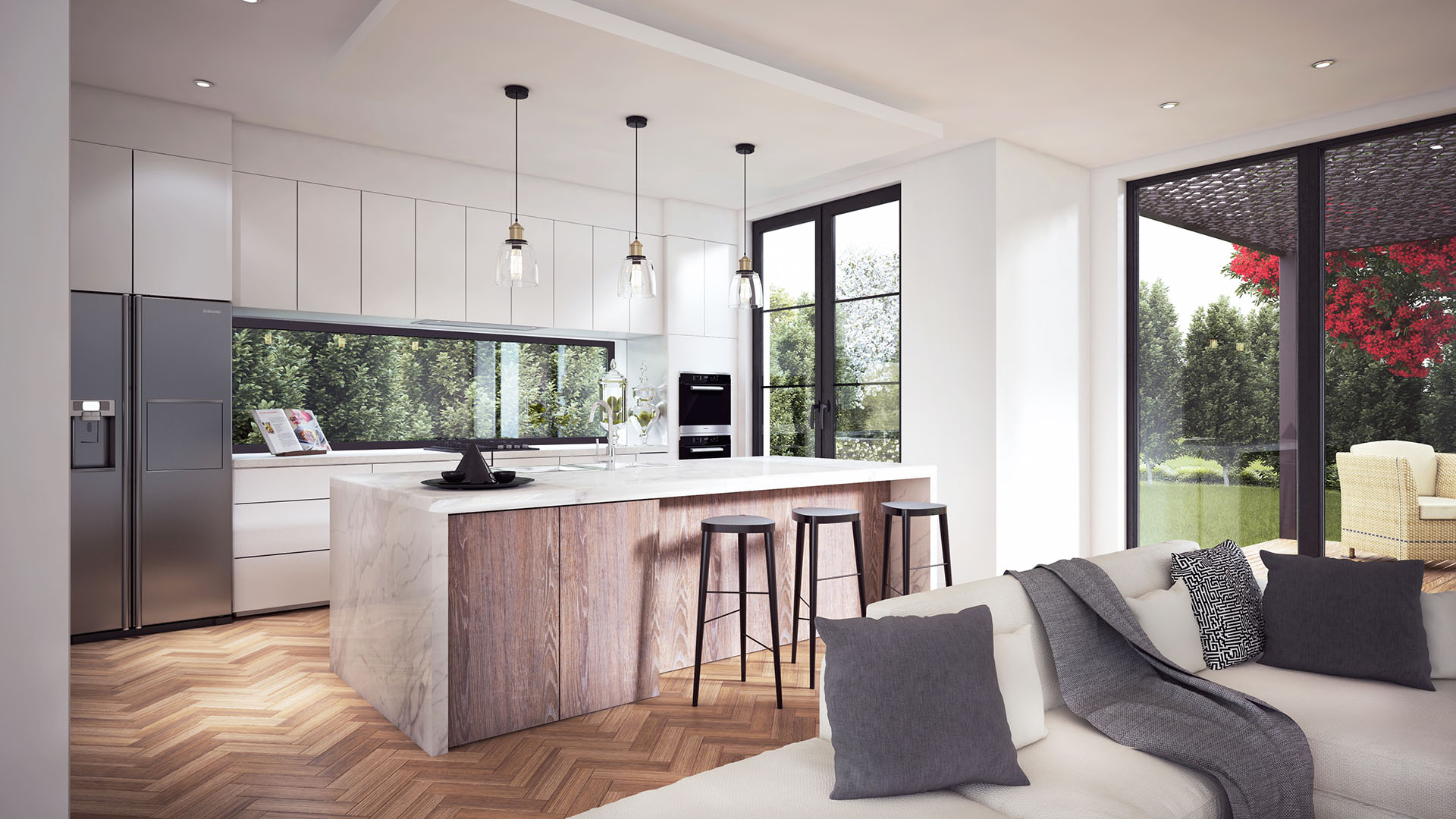 and design smart archicgi living kitchen rendering room projects dining combo interior